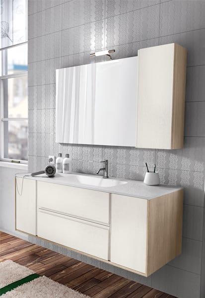 Mueble bajo lavabo suspendido de roble con espejo cloe 26 - Mueble lavabo suspendido ...