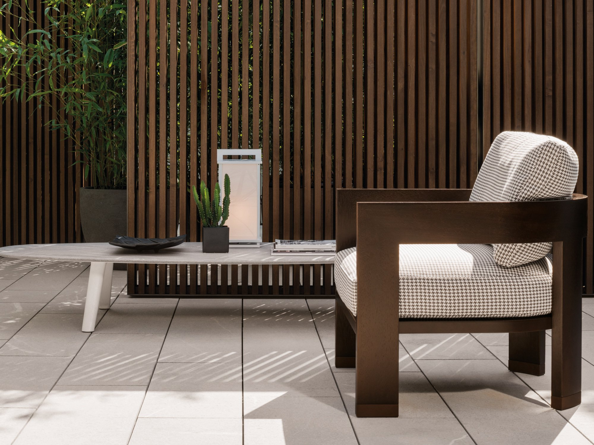 Outdoor armchair WARHOL DARK BROWN OUTDOOR by Minotti design ...