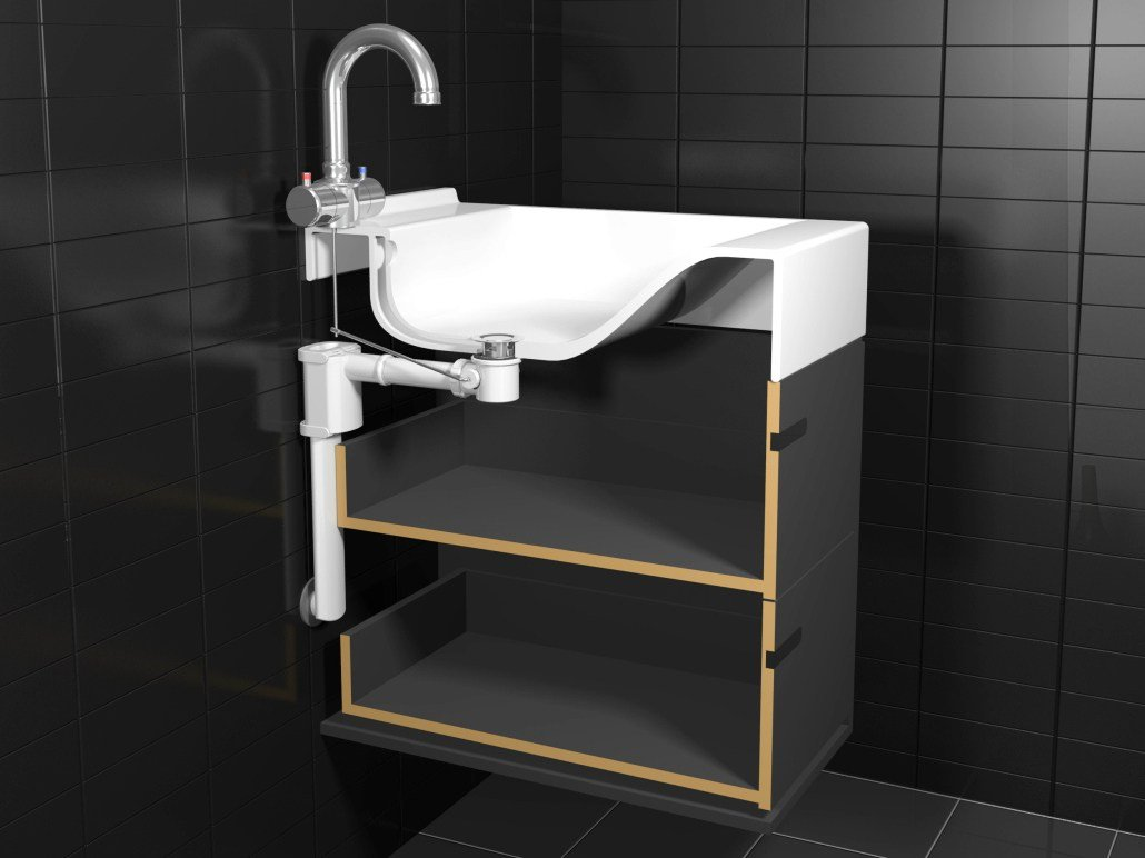 siphon f r waschbecken aus stahl und pvc slim tube by easy sanitary solutions. Black Bedroom Furniture Sets. Home Design Ideas