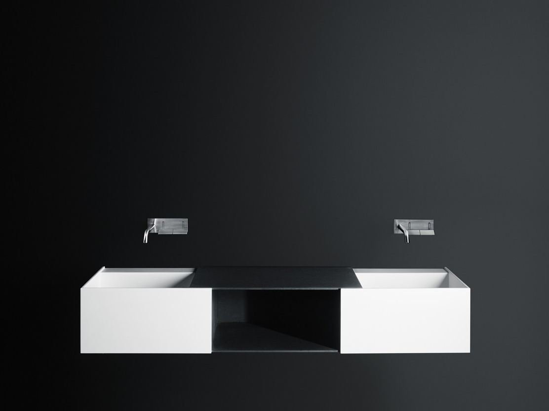 Wall Mounted Washbasin : Double wall-mounted Corian? washbasin DueC by Boffi design Victor ...