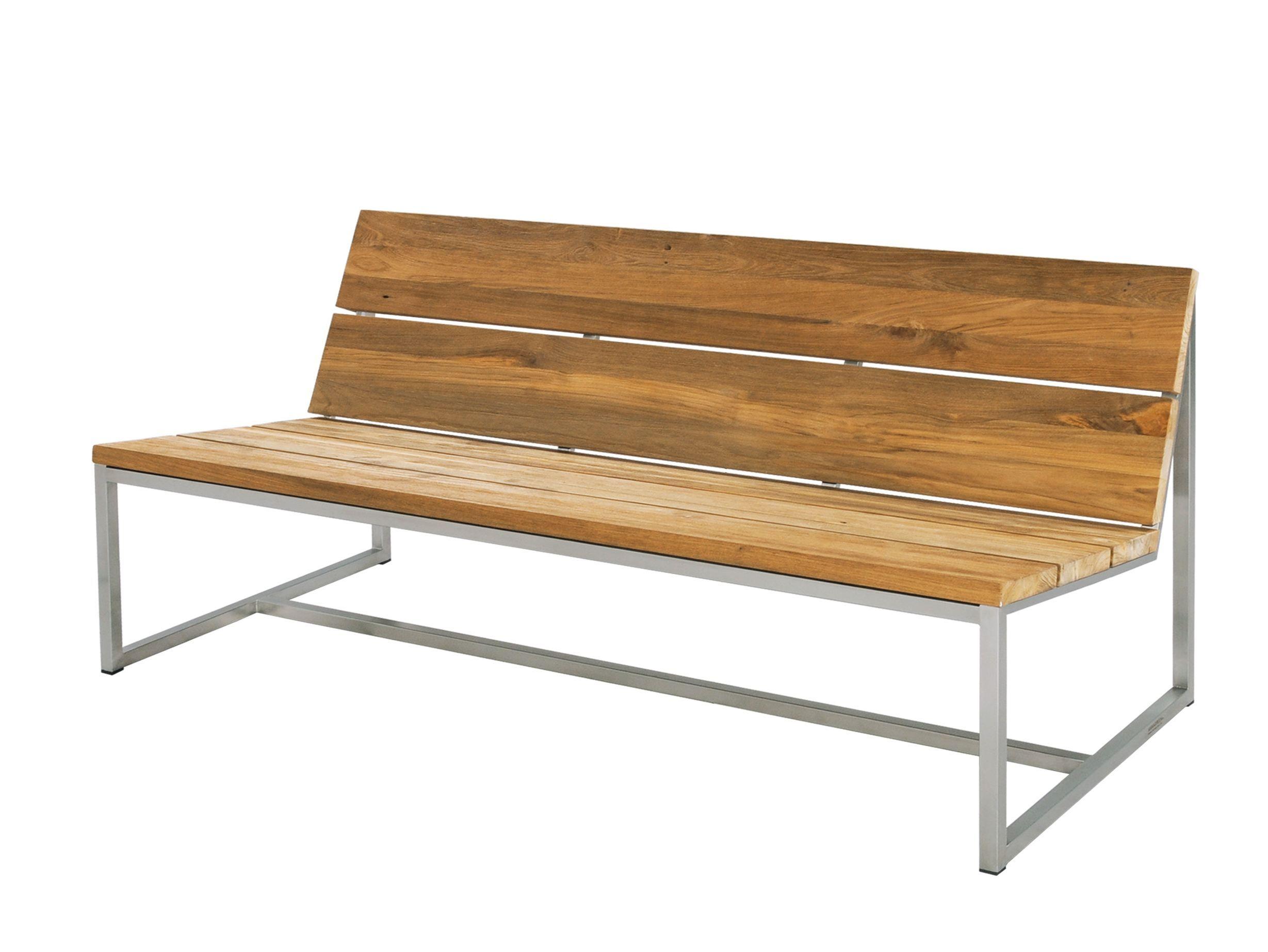 Banco de acero inoxidable y madera para jard n con for Banco madera jardin carrefour