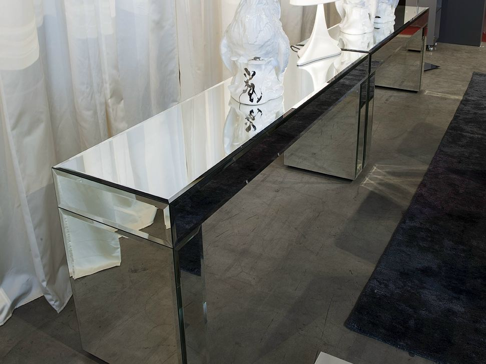 Consolle rettangolare in vetro a specchio aphrodite by for Consolle in vetro