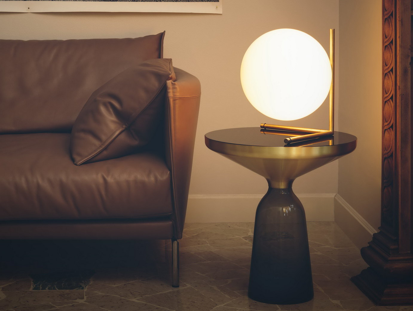 Opal Glass Table Lamp IC LIGHTS T2 By FLOS Design Michael