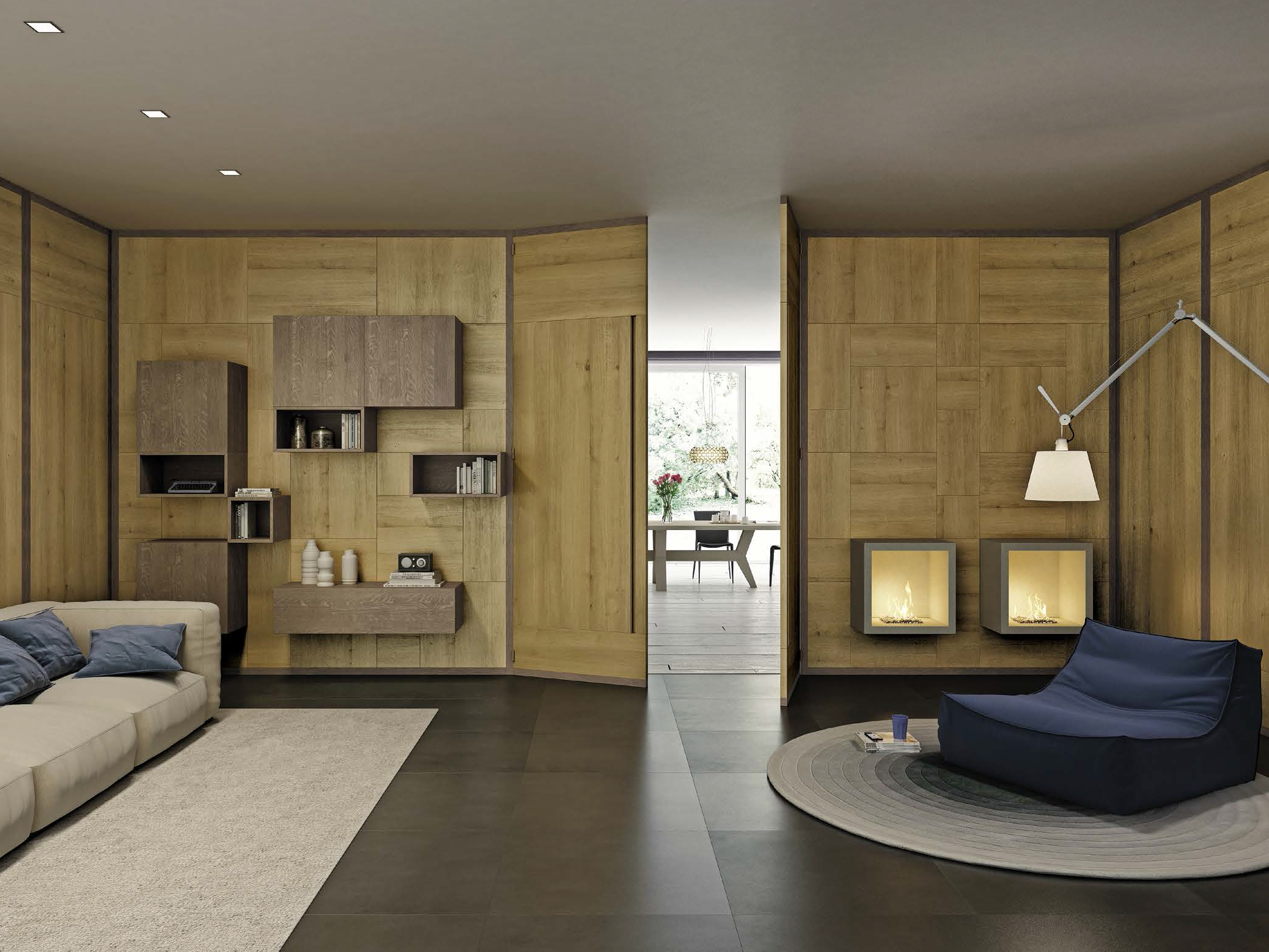 Boiserie parete attrezzata in legno life by domus arte for Porte living