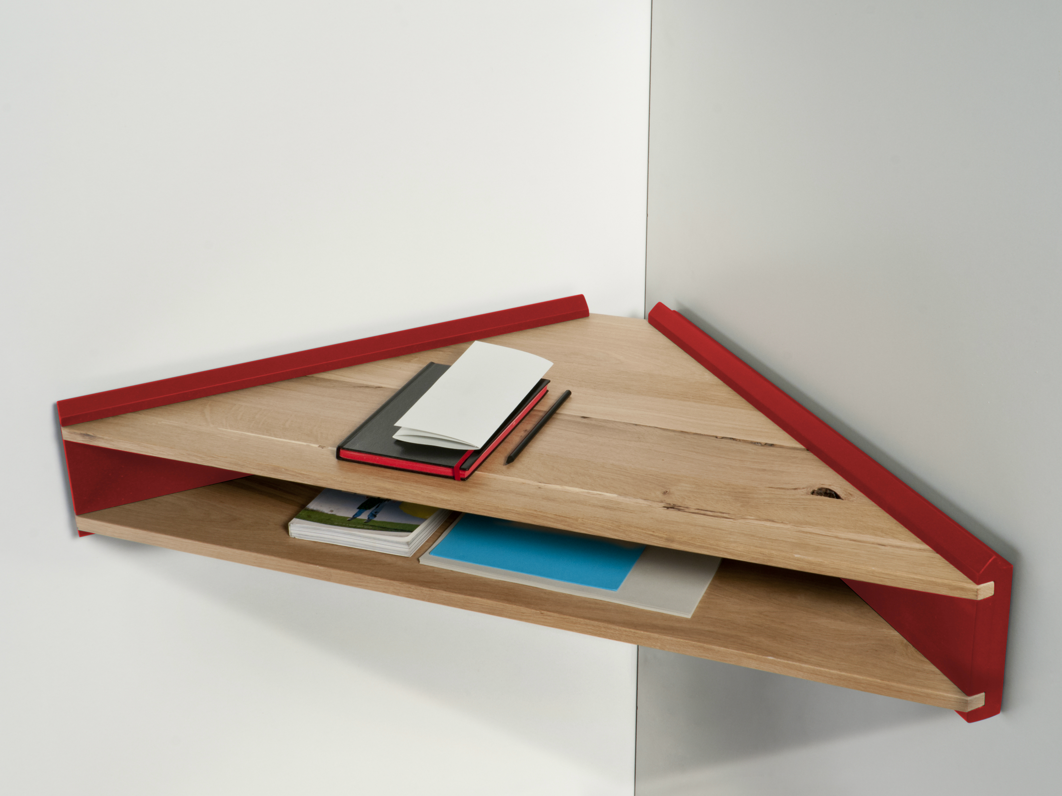 Oak secretary desk wall shelf briccola ge by col - Fabriquer table murale pliante ...