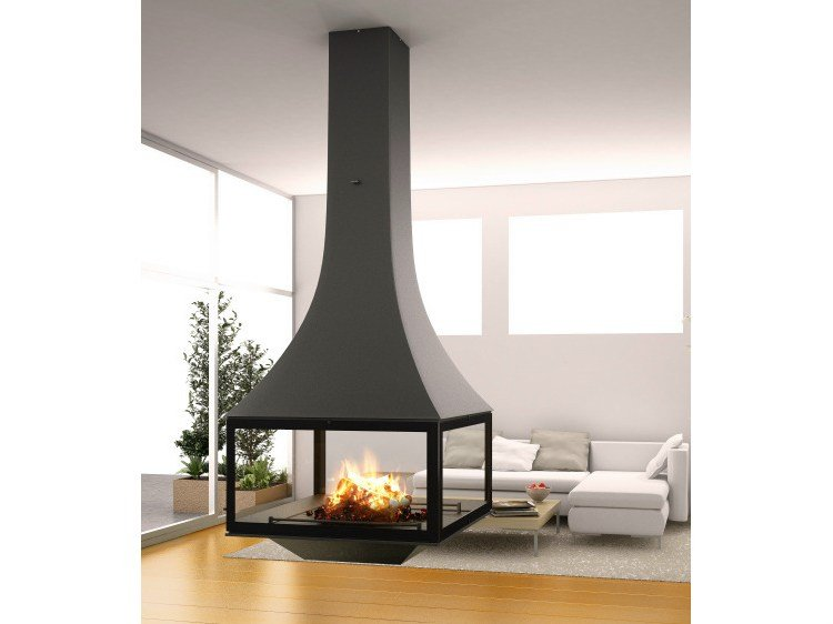 Wood Burning Hanging Fireplace With Panoramic Glass