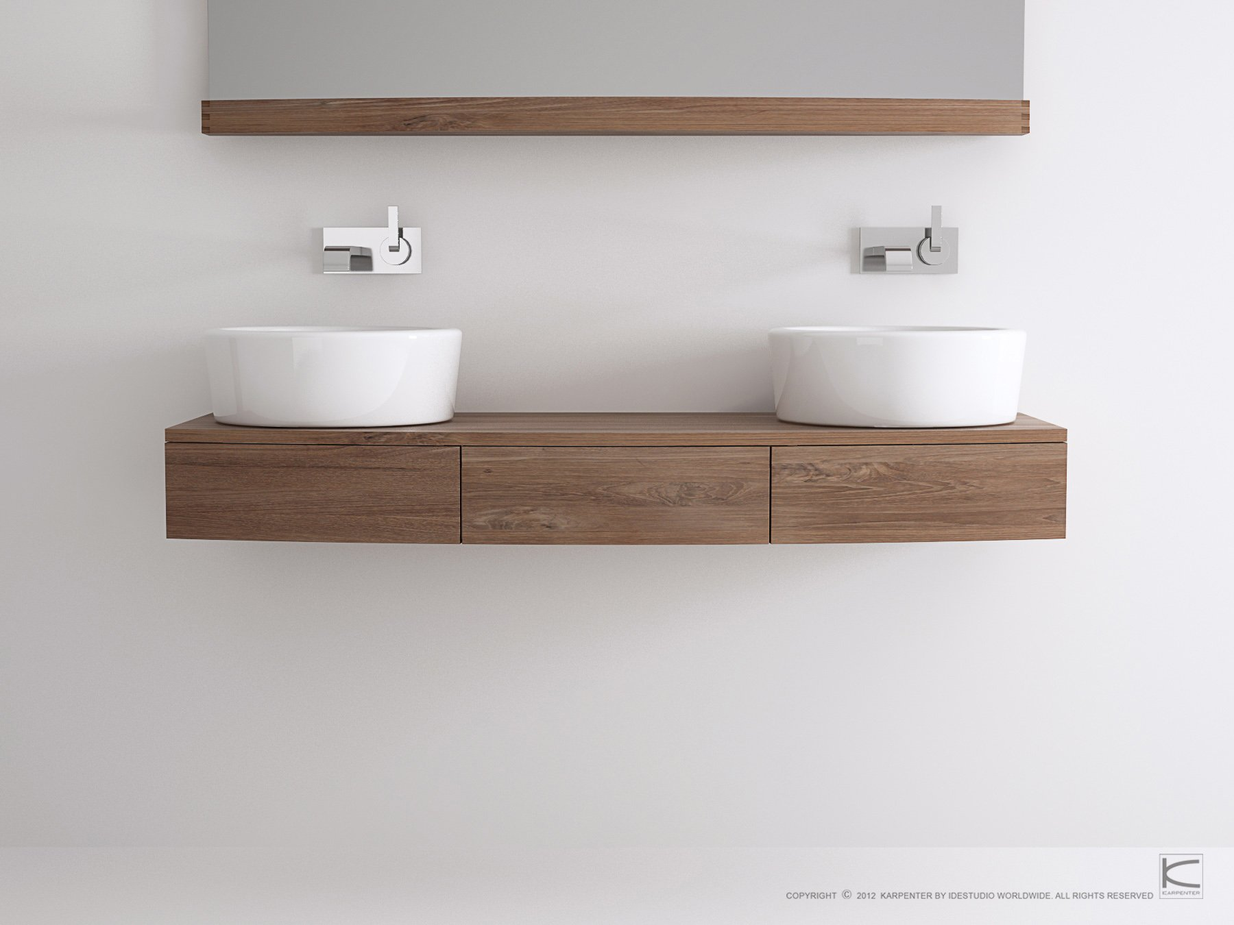 Miles meuble sous vasque double by karpenter design hugues for Meubles sous vasque bois