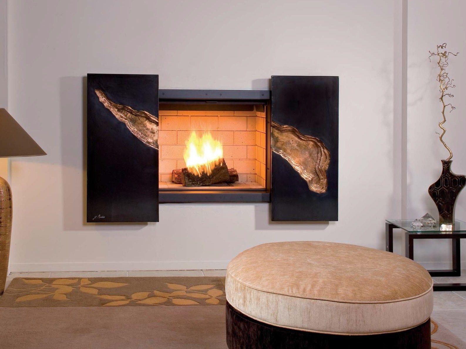 chemin e bois murale encastr e stella by jc bordelet. Black Bedroom Furniture Sets. Home Design Ideas