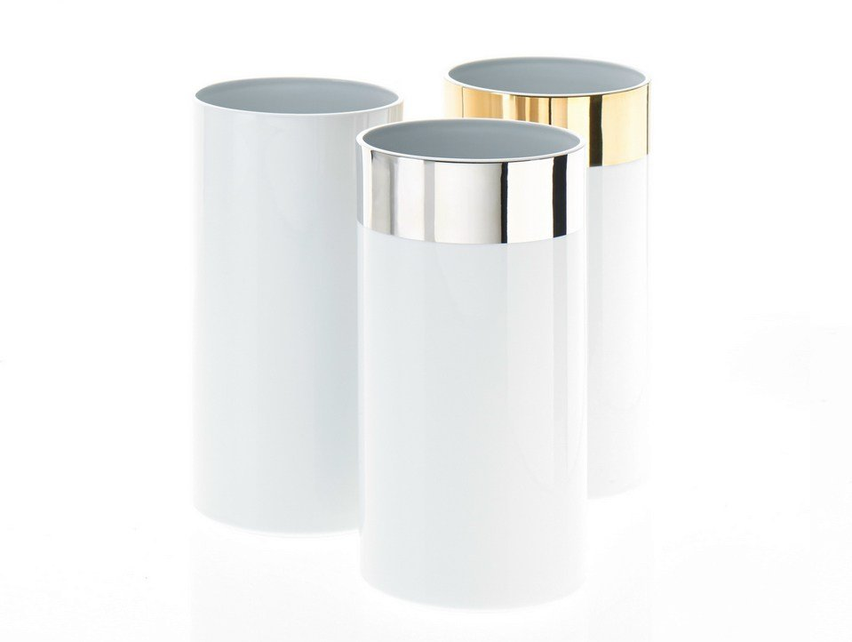 Porcelain bathroom waste bin toilet roll holder pk l by for Ceramic bathroom bin
