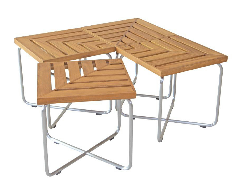 Table basse de jardin miami taupe Table basse de jardin en resine