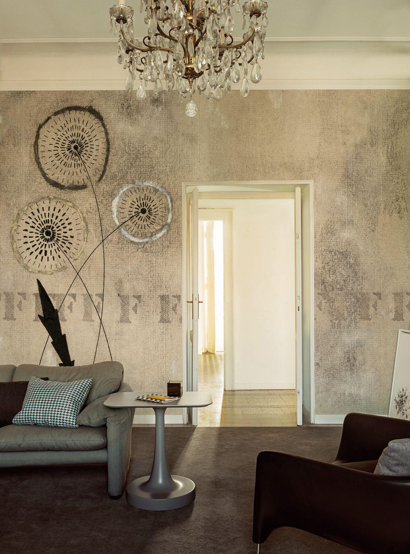 Carta da parati effetto muro con motivi floreali fff by for Carta da parati muro