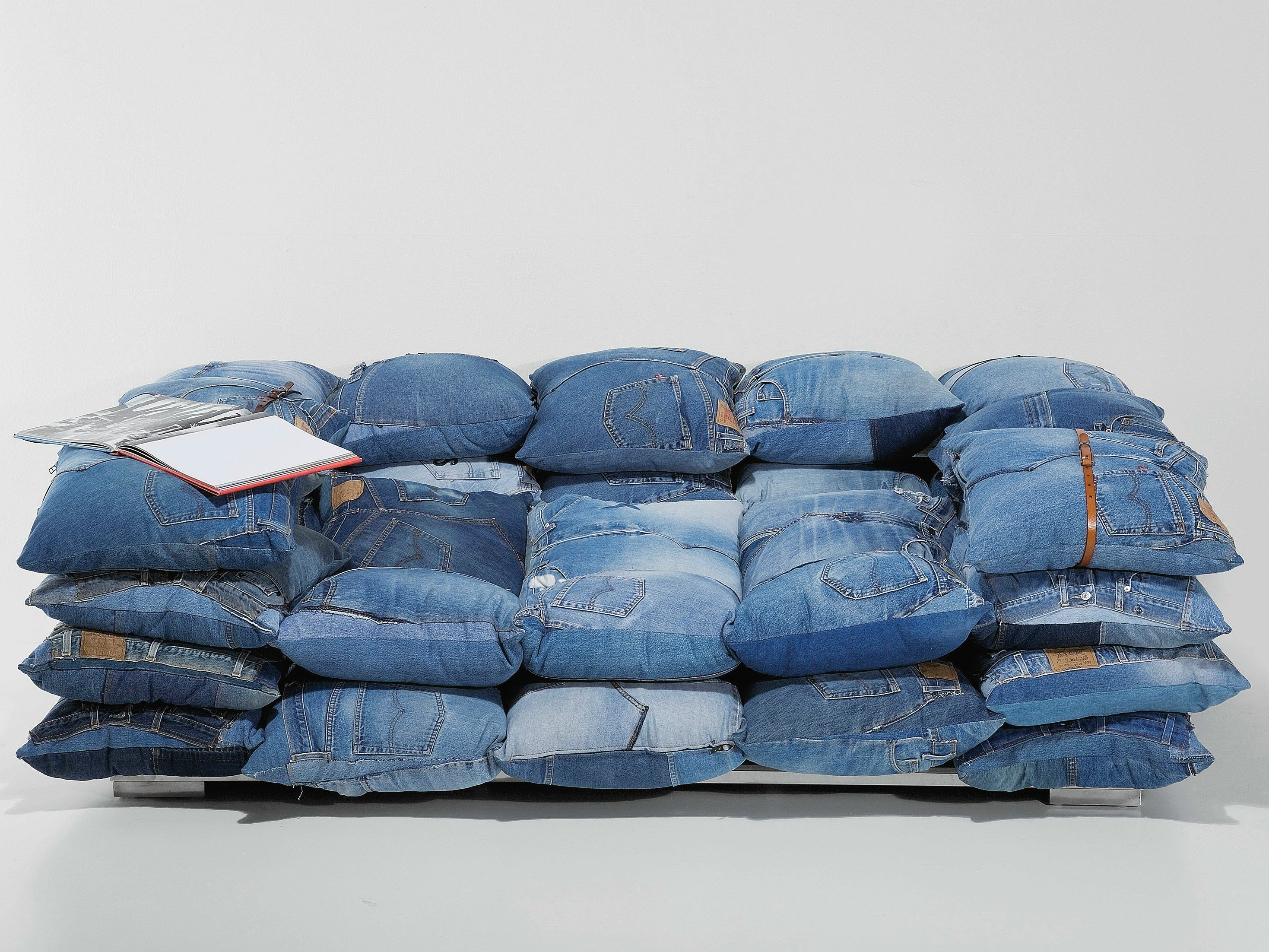 Relaxing 2 Seater Fabric Sofa Jeans Cushions By Kare Design
