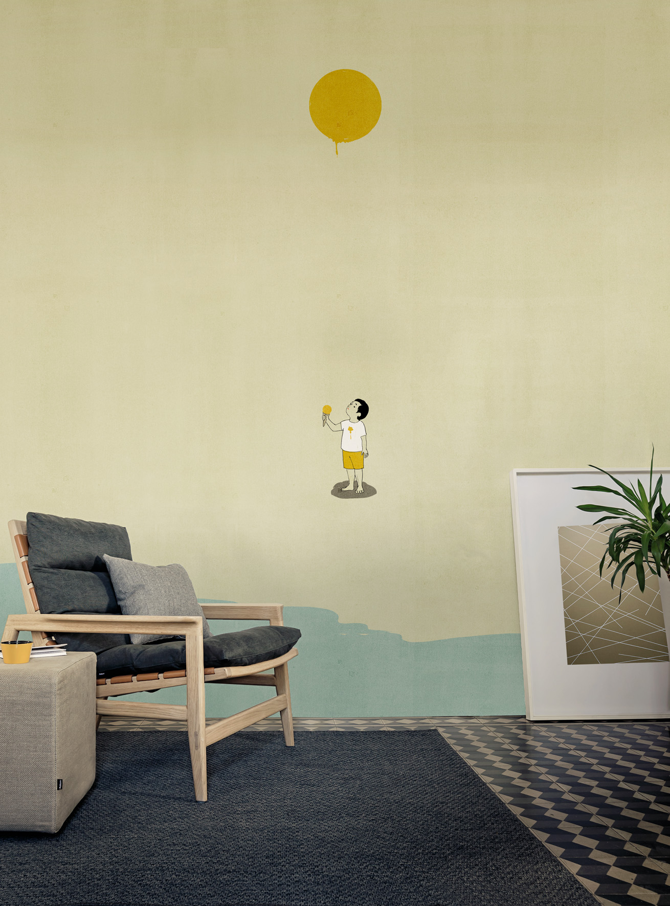 wallpaper yellow mellow by wall dec design alessandro gottardo shout. Black Bedroom Furniture Sets. Home Design Ideas