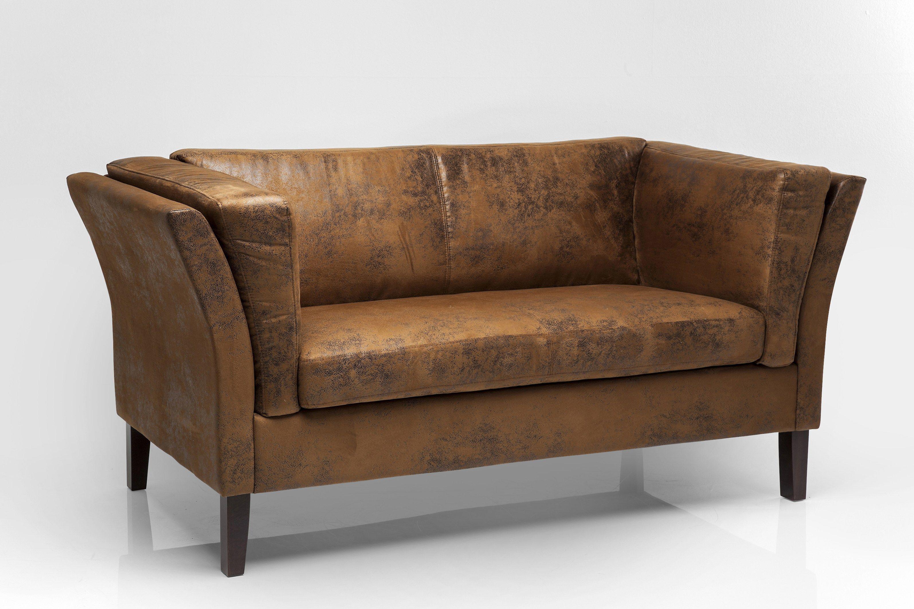 Divano imbottito in pelle a 2 posti canapee vintage eco by kare design - Piccolo divano imbottito ...