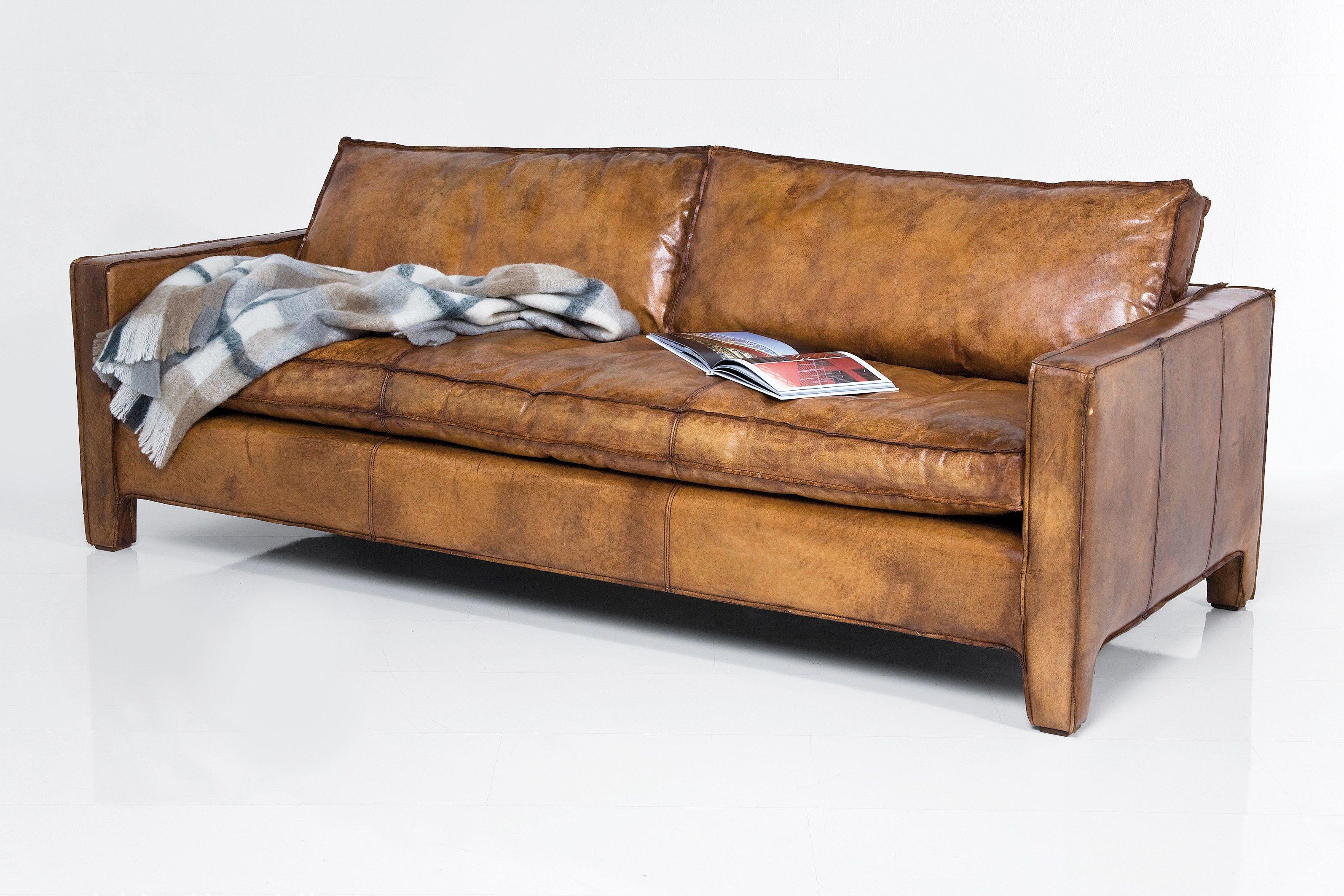 3 er sofa aus leder comfy buffalo brown by kare design. Black Bedroom Furniture Sets. Home Design Ideas