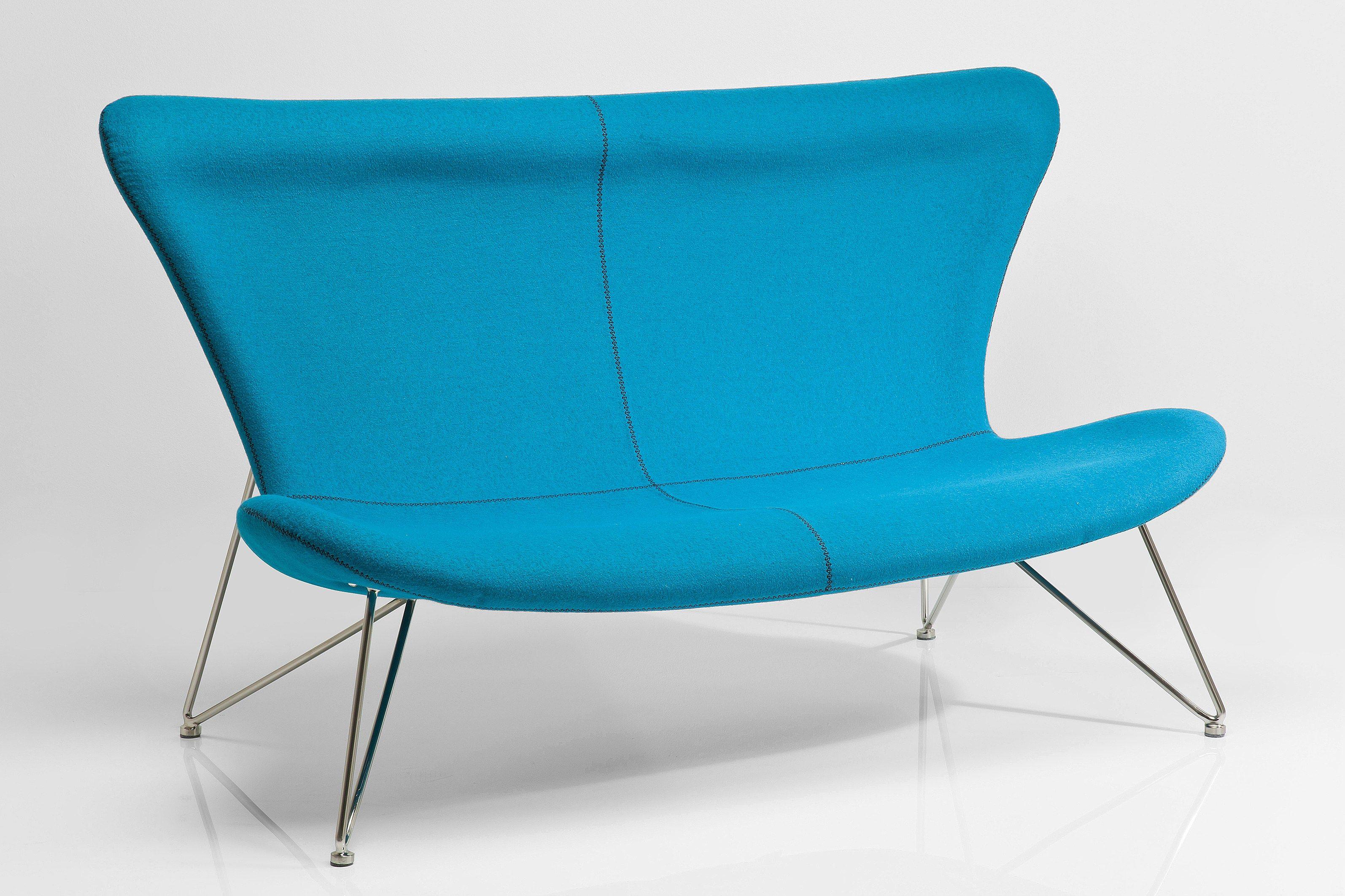 Canap 2 places en tissu avec dossier haut miami turquoise for Canape avec dossier haut