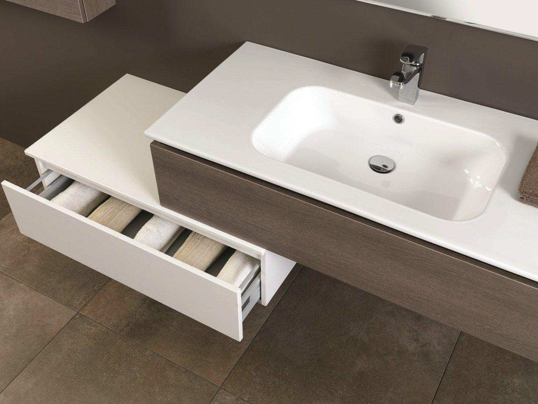 Mobile lavabo in noce con cassetti HD.02 by Mobiltesino