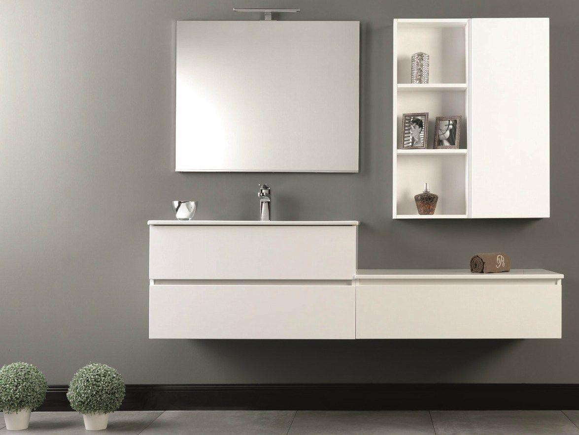 Mobile lavabo sospeso con cassetti HD.03 by Mobiltesino