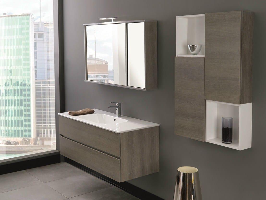Mobile bagno sospeso con specchio by mobiltesino - Mobile bagno con specchio ...