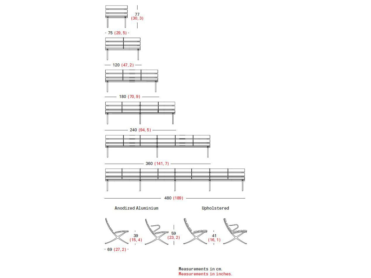 Panchina modulare con braccioli BENCH B  Panchina con braccioli - BD ...
