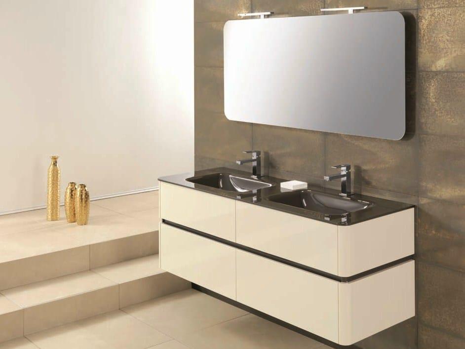 Meuble sous vasque double avec tiroirs qu39 by mobiltesino for Meuble sous double vasque