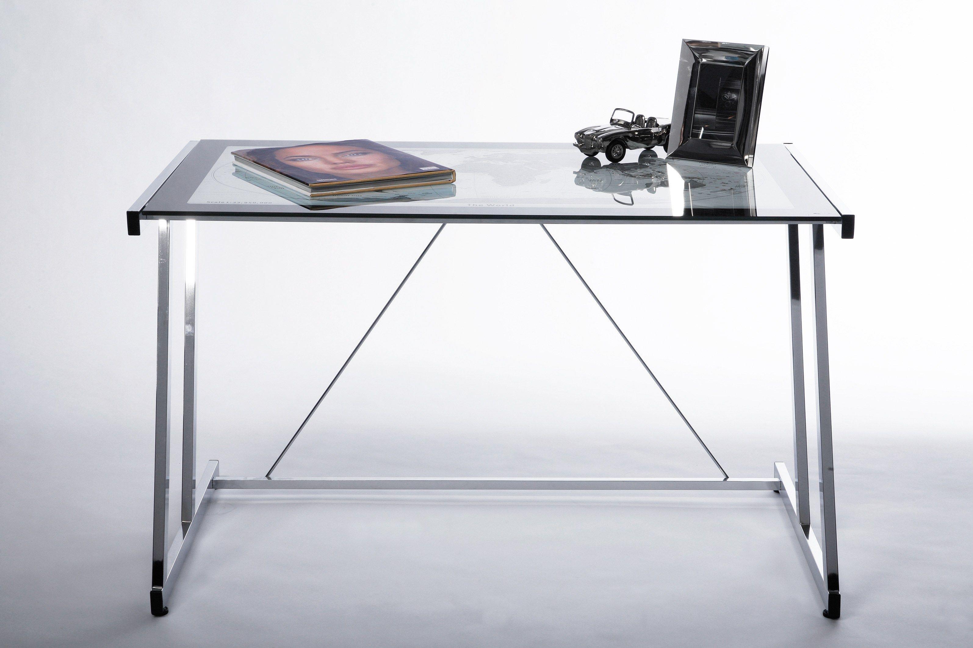 Scrivania rettangolare in acciaio e vetro mondo by kare design for Scrivanie in vetro e acciaio