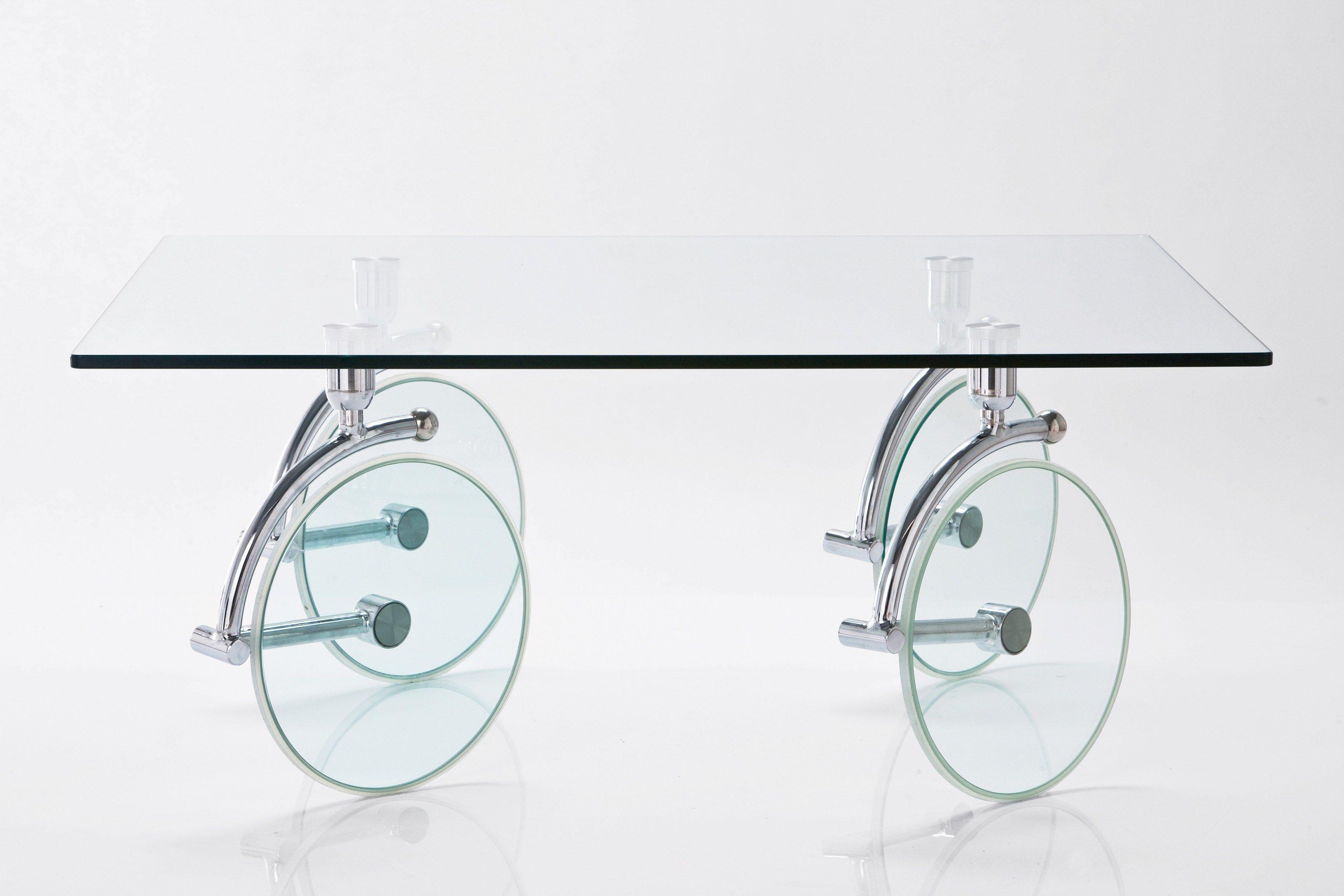 Tavolino rettangolare in vetro con ruote WHEELS by KARE-DESIGN