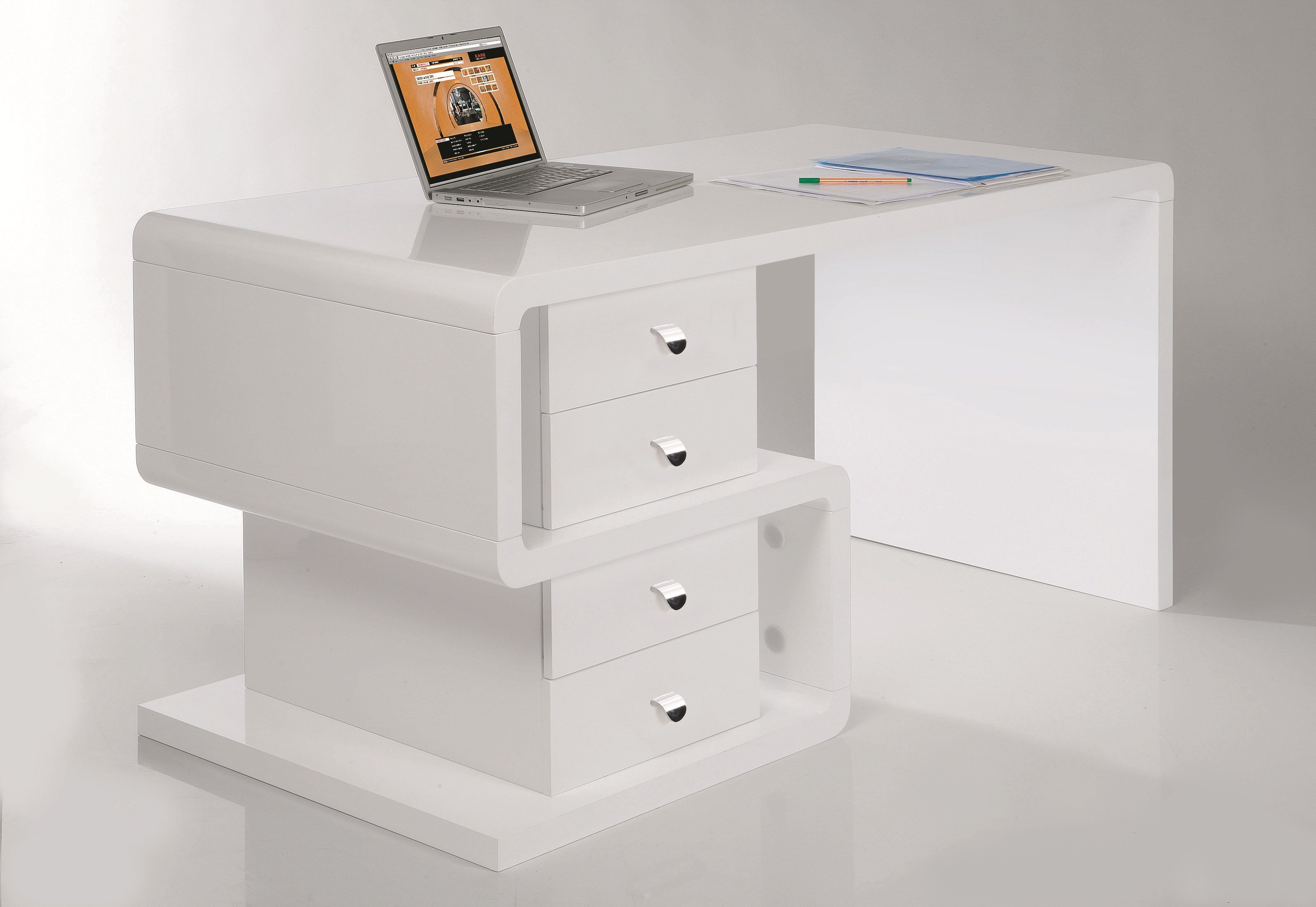 bureau laqu rectangulaire en bois avec tiroirs white club. Black Bedroom Furniture Sets. Home Design Ideas