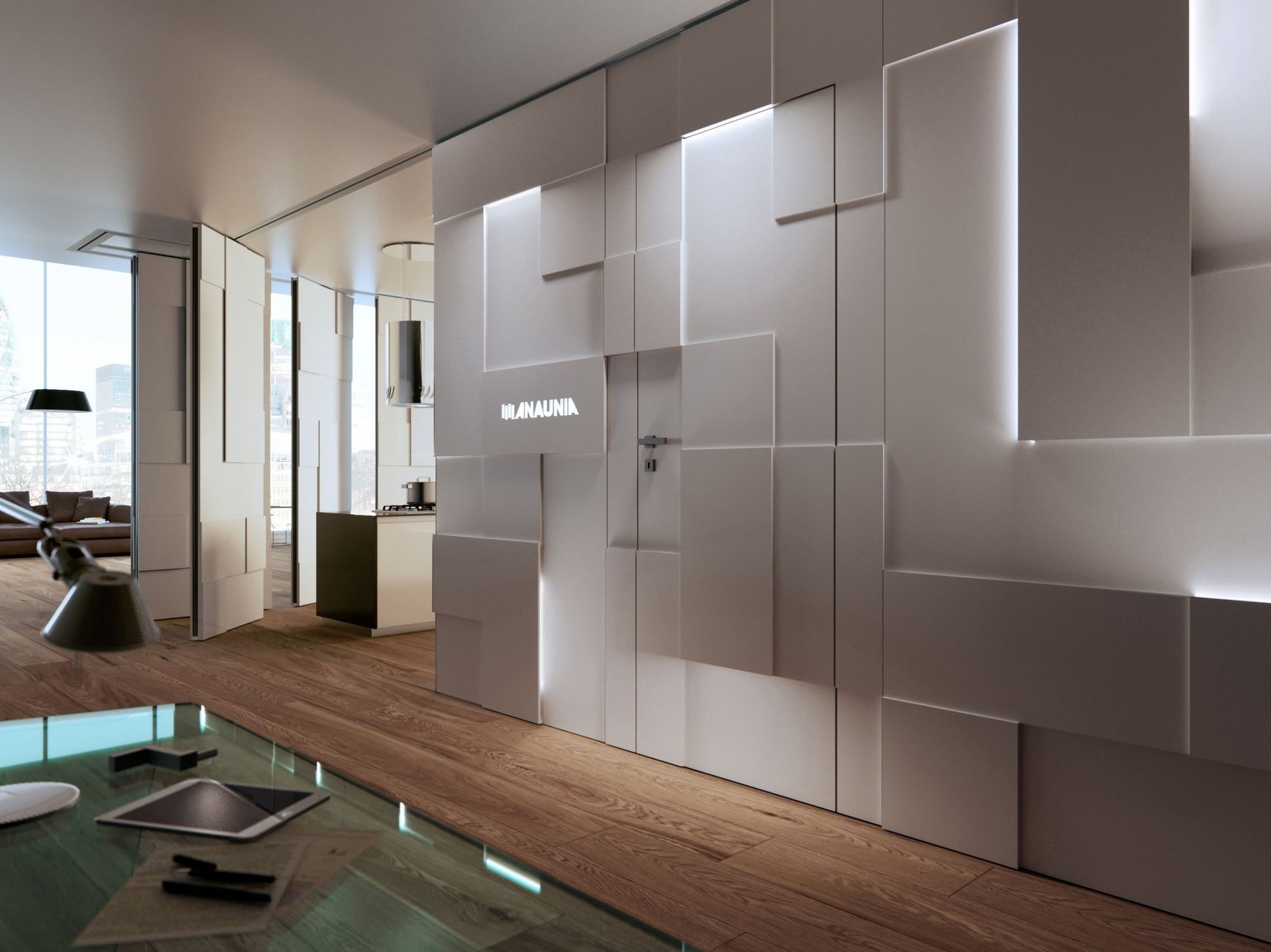 OPERABLE WALL SHINE WALL BY ANAUNIA DESIGN TOMMASO PEZZI