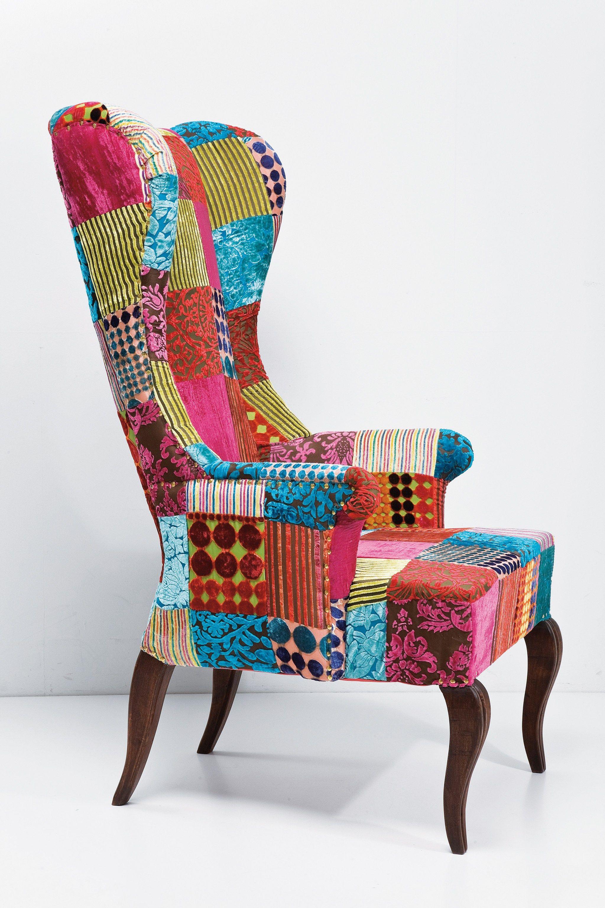 Fauteuil rembourr en tissu avec dossier haut patchwork velvet by kare design - Fauteuil tissu patchwork ...