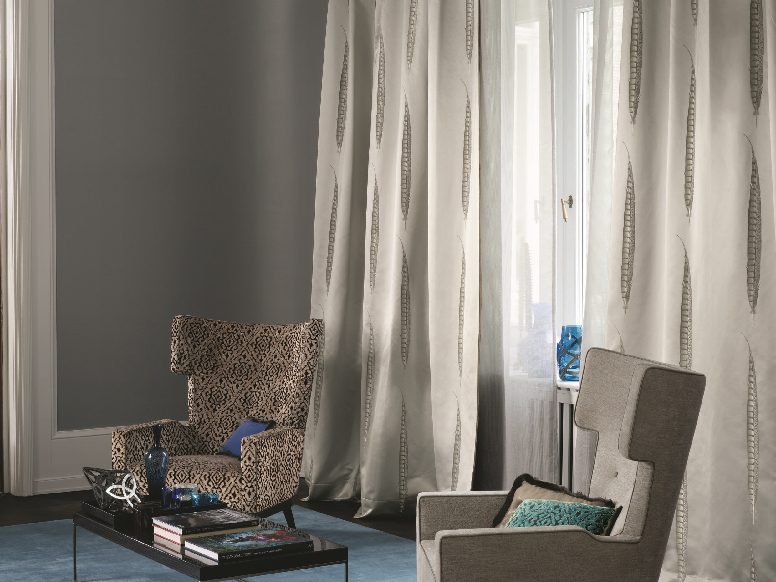 Tissu jacquard pour rideaux star by zimmer rohde for Cortinas salon beige