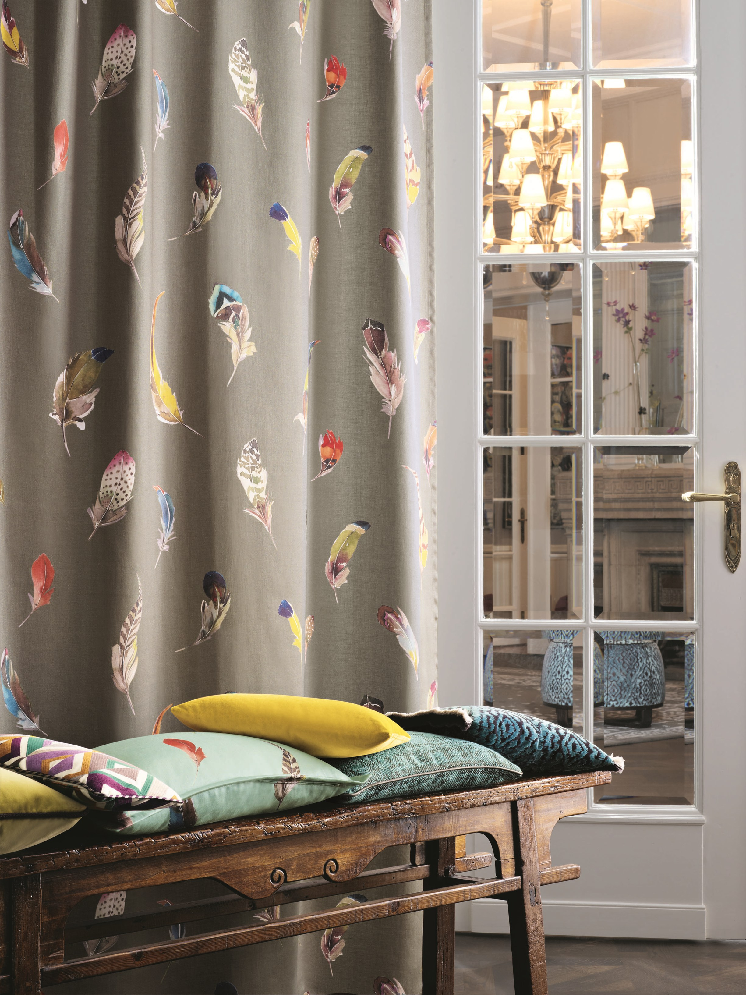 tissu en lin pour rideaux birds gallery collection paradise by zimmer rohde. Black Bedroom Furniture Sets. Home Design Ideas