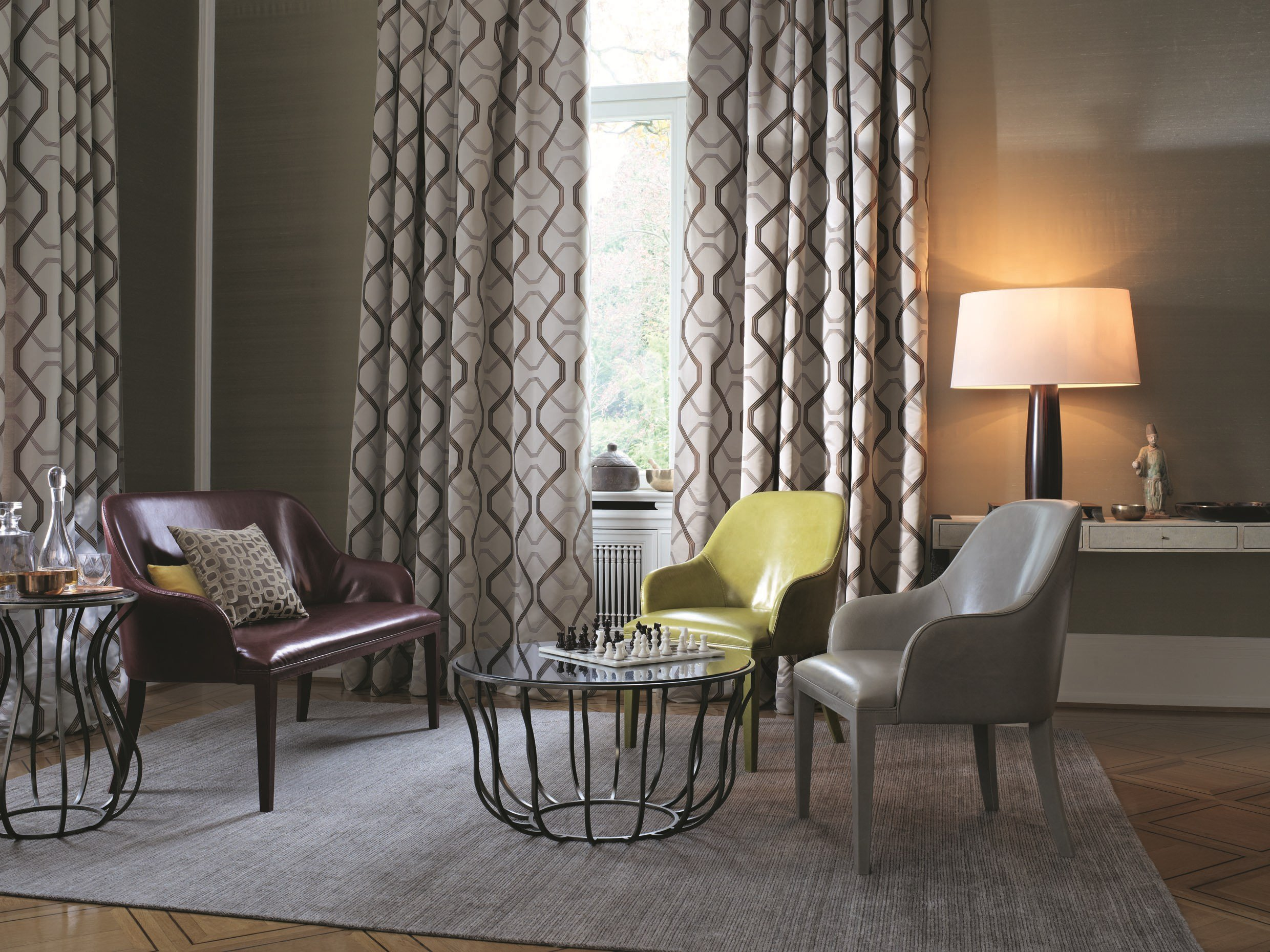 polyester fabric with graphic pattern for curtains calvin. Black Bedroom Furniture Sets. Home Design Ideas