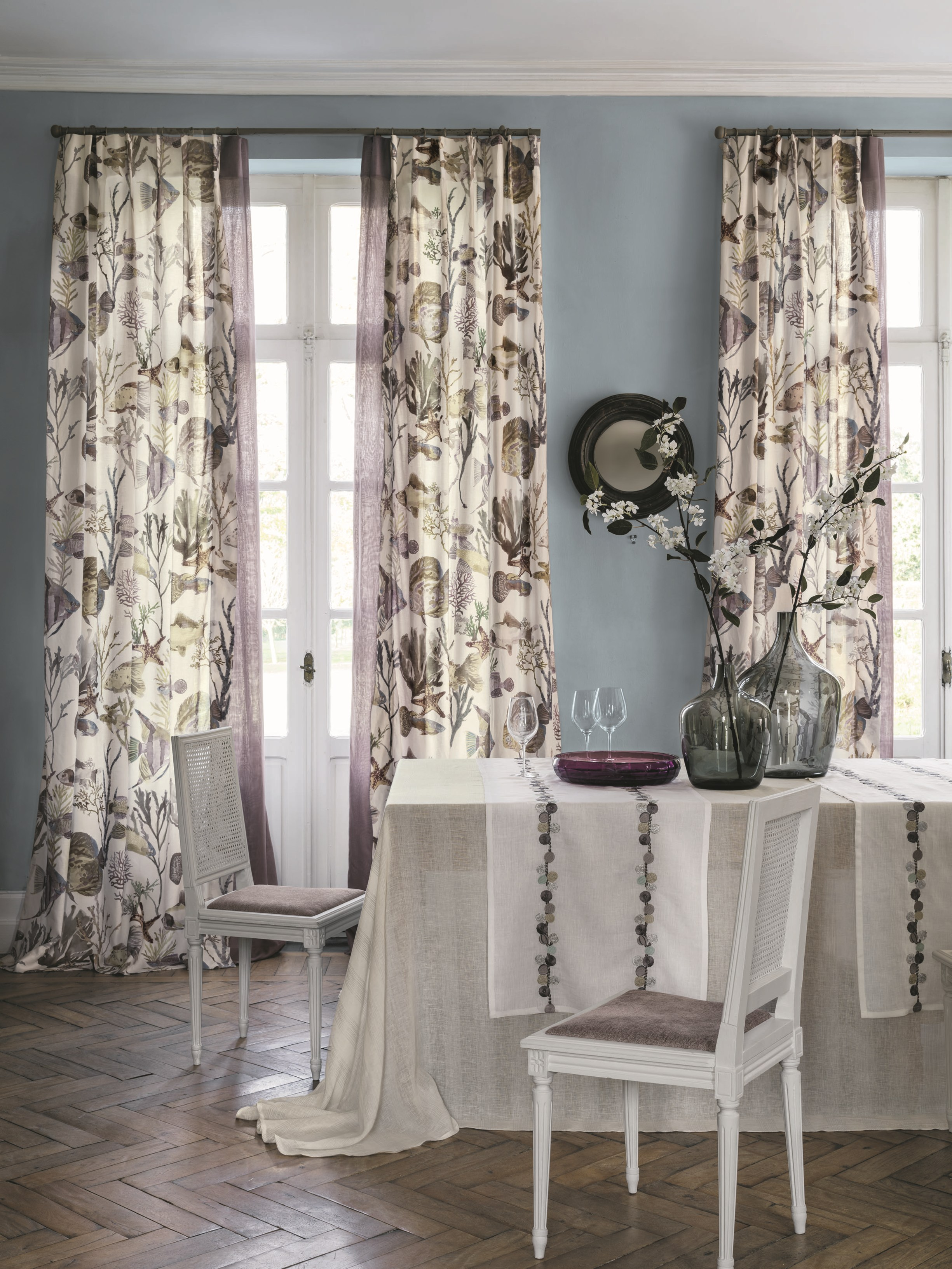 Tessuto in lino per tende con motivi floreali archipel - Tende per doccia in lino ...
