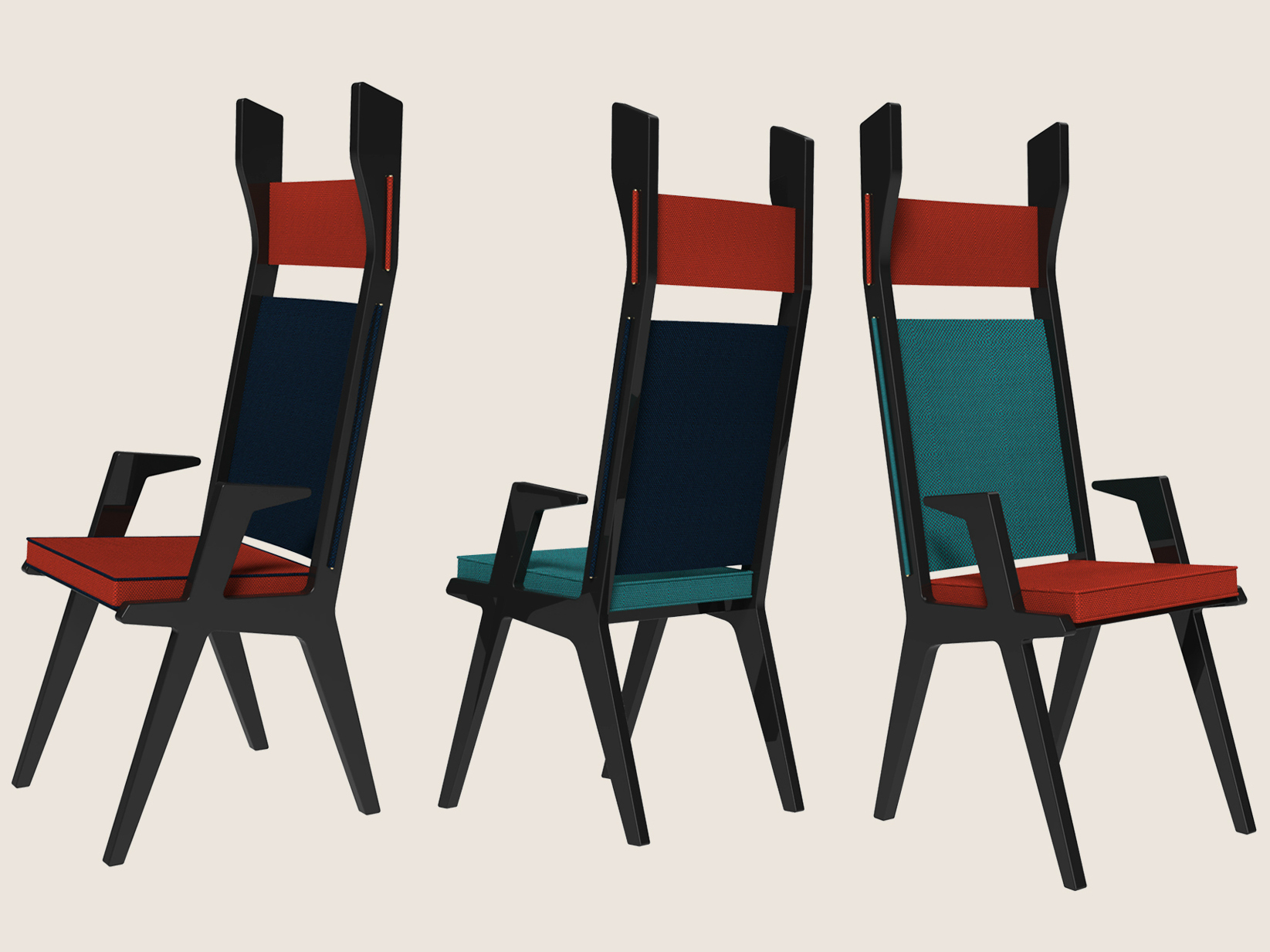 Sedia imbottita con braccioli con schienale alto colette for Sedia design schienale alto