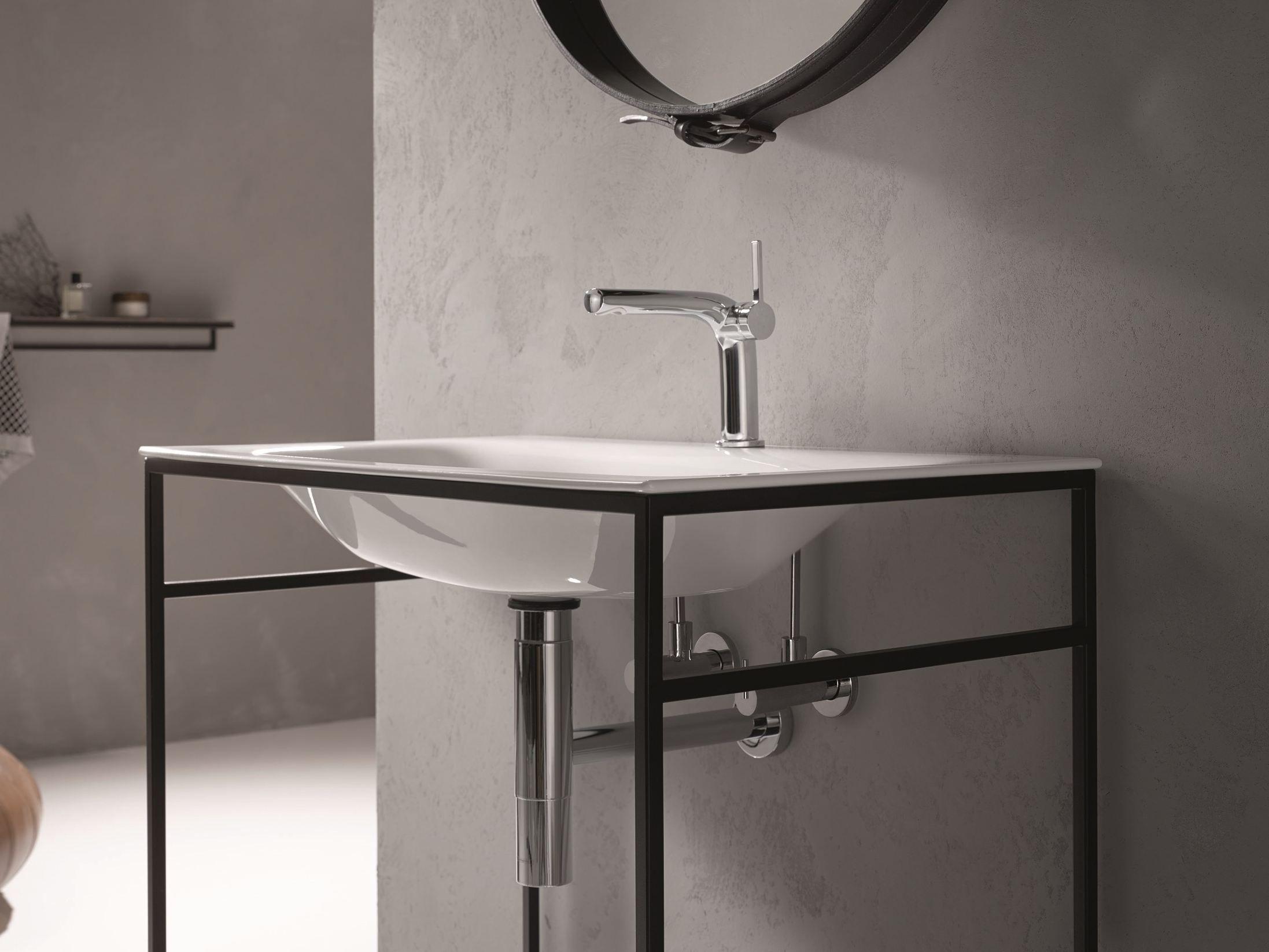rechteckiges einzel waschbecken aus emailliertem stahl. Black Bedroom Furniture Sets. Home Design Ideas