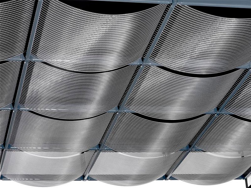 Faux plafond grille et toile m talliques konvex by haver for Faux plafond resille