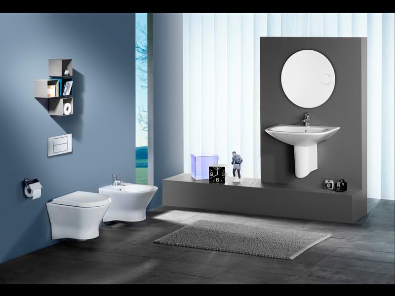 Nexo wall hung toilet by roca sanitario design antonio bullo for Salle de bain design luxe noir et blanc