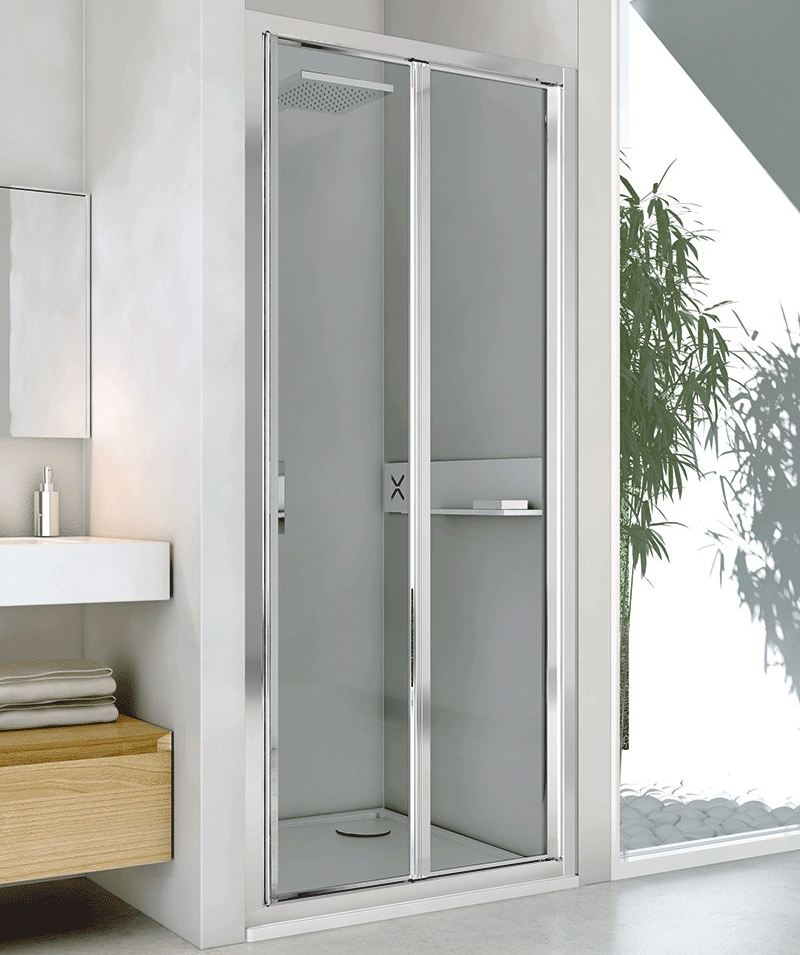 Box doccia a nicchia in alluminio e vetro con porte a - Porta a soffietto in vetro ...
