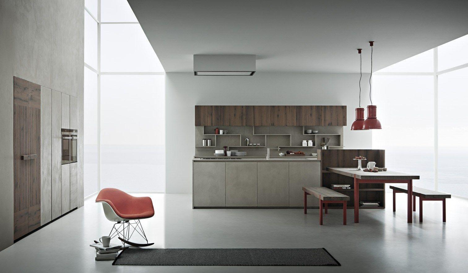 Cucina in resina di cemento con isola line k collezione line k by zampieri cucine design - Resina in cucina ...