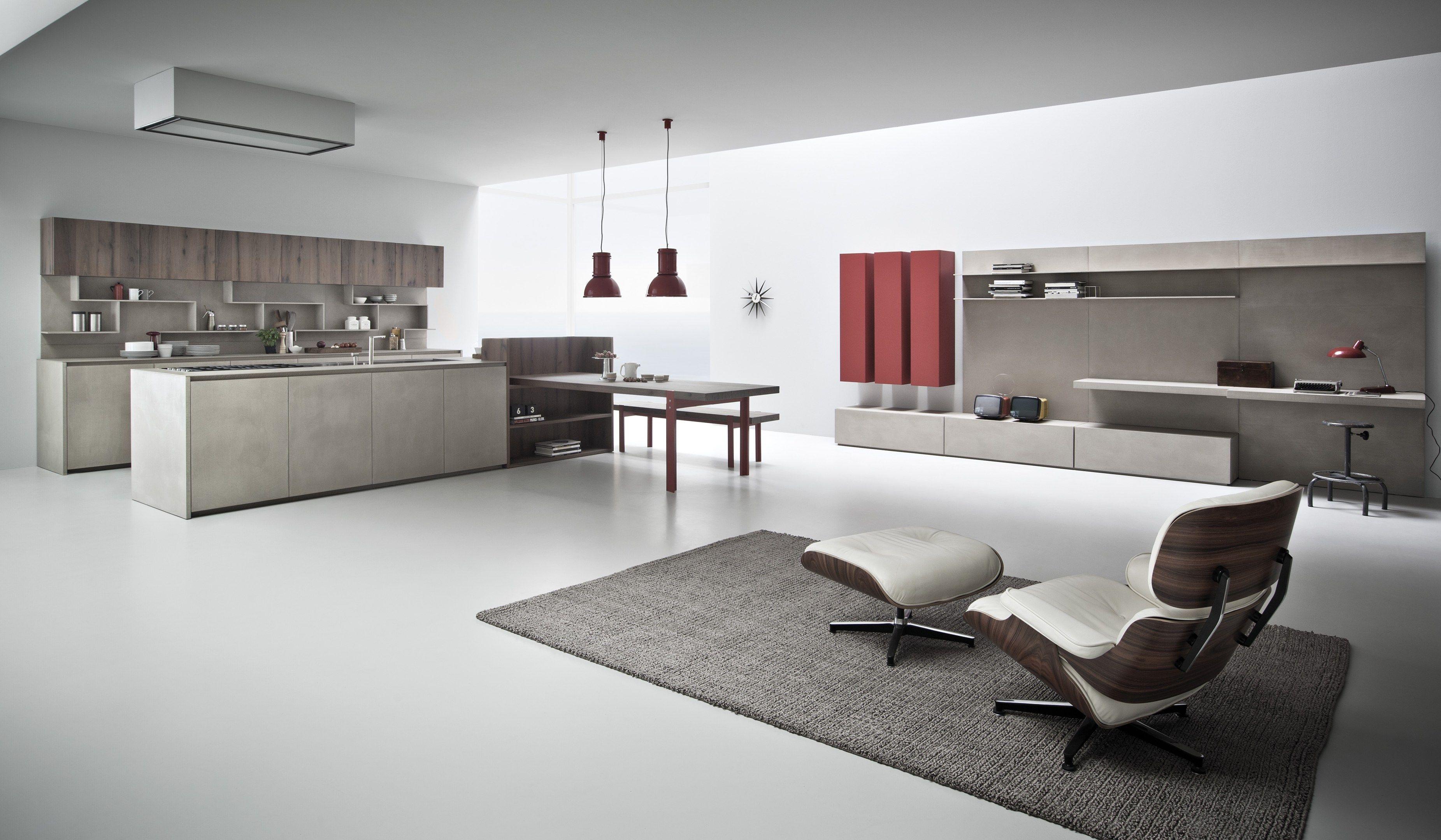 Cucina in resina di cemento con isola line k collezione - Cucina attrezzata ...