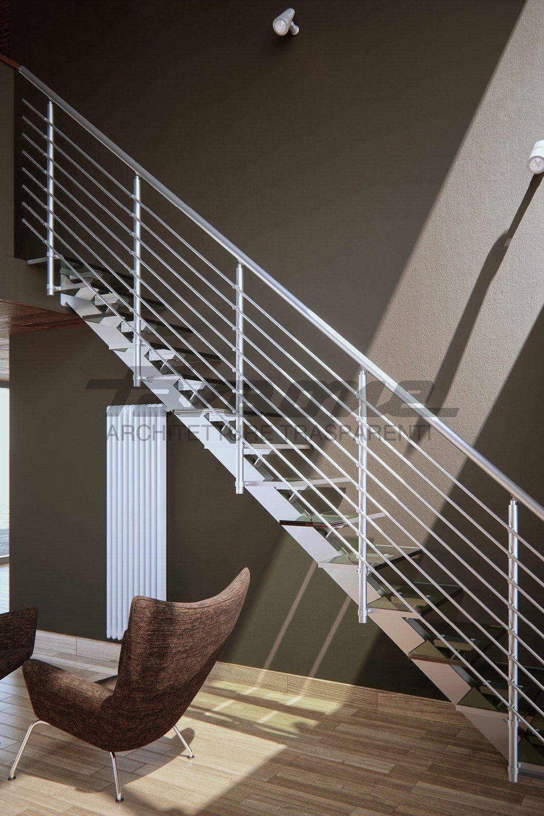 escalier ouvert droit en aluminium et verre essenza collection escaliers by faraone design. Black Bedroom Furniture Sets. Home Design Ideas