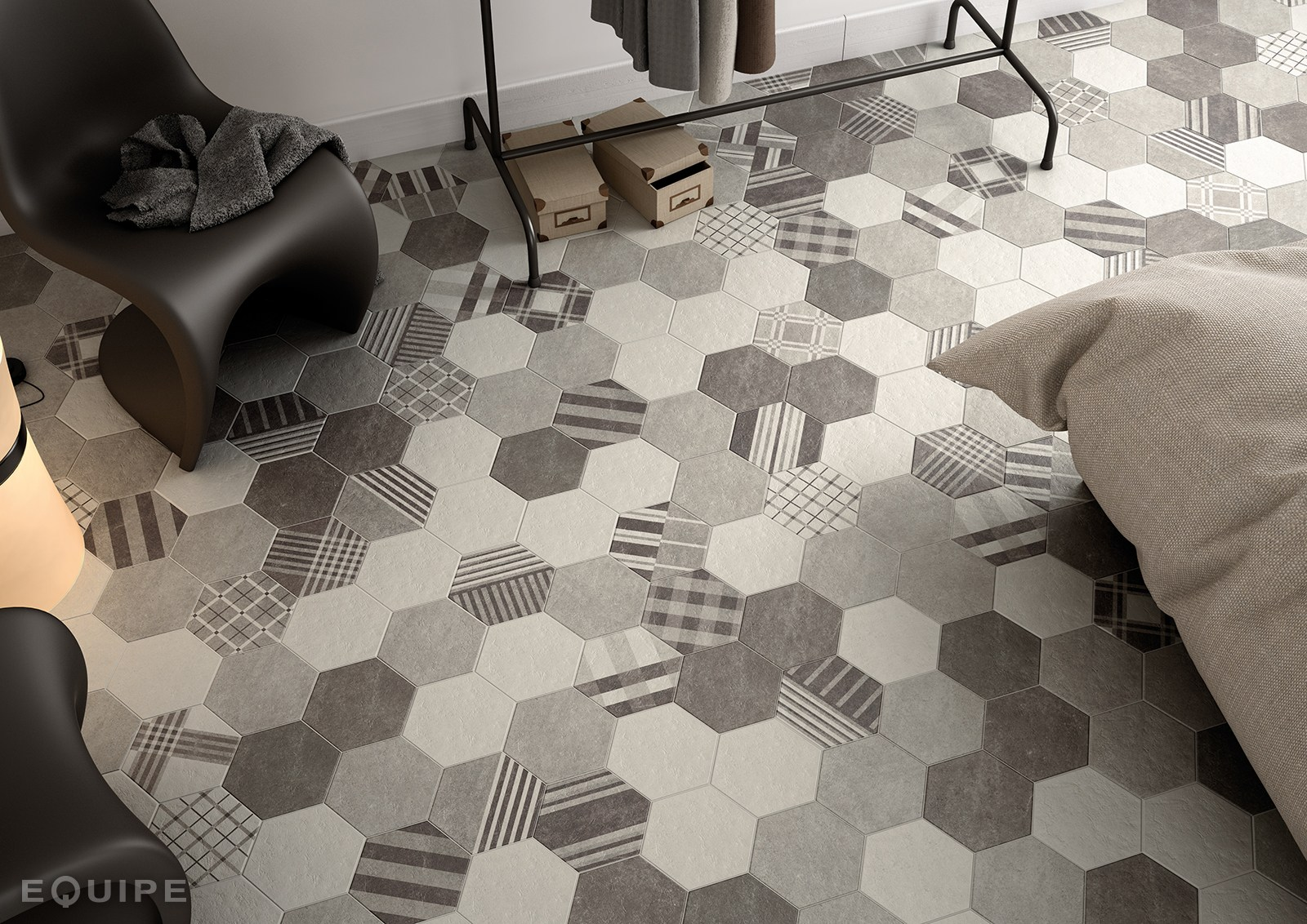 Hexatile cement wall floor tiles by equipe ceramicas - Equipe hexatile cement ...