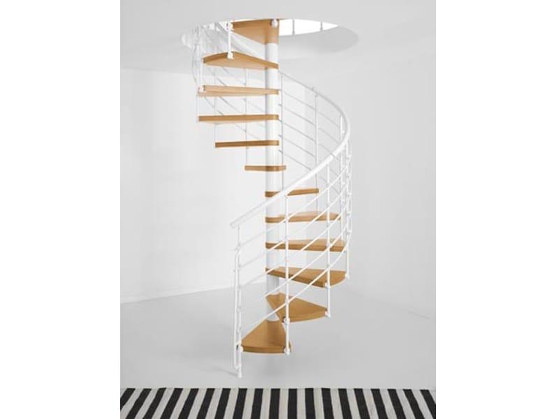 Escalier en colima on en acier et bois magia 70 xtra by fontanot spa - Escalier colimacon acier ...