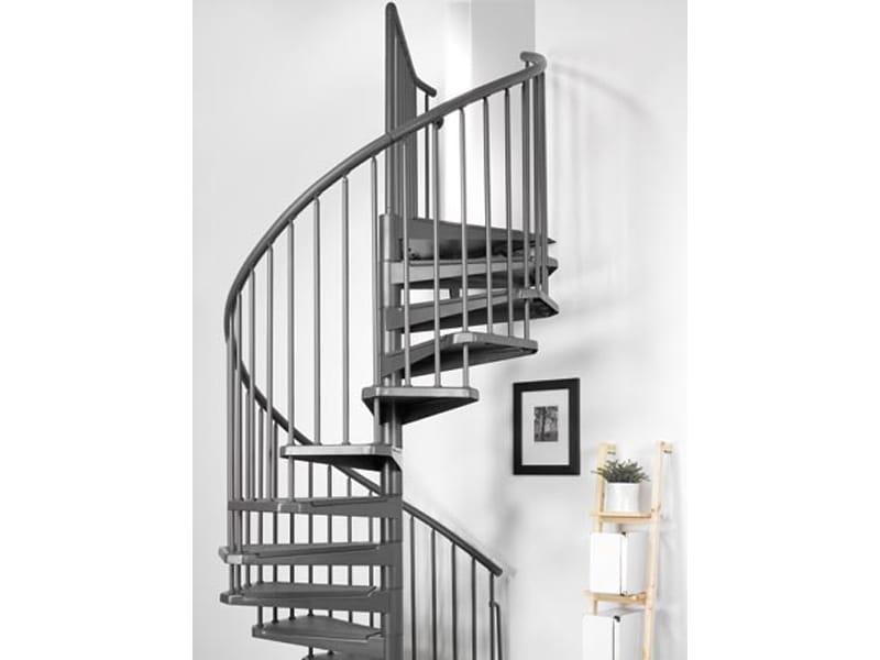Escalier en colima on en acier en kit magia 50 by fontanot spa for Escalier colimacon exterieur en kit