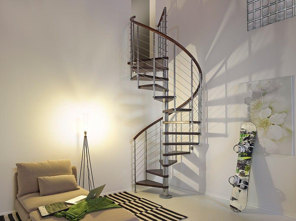 Escalier en colima on en acier et bois pixima ring line by fontanot spa - Escalier colimacon acier ...