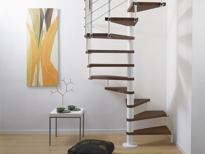 Square Steel And Wood Spiral Staircase Pixima Cube Line By