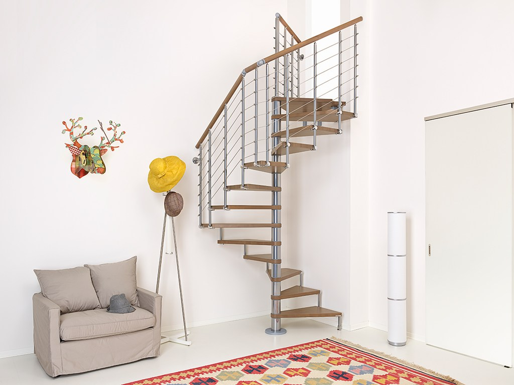 Square steel and wood spiral staircase pixima cube line by for Spiral staircase square