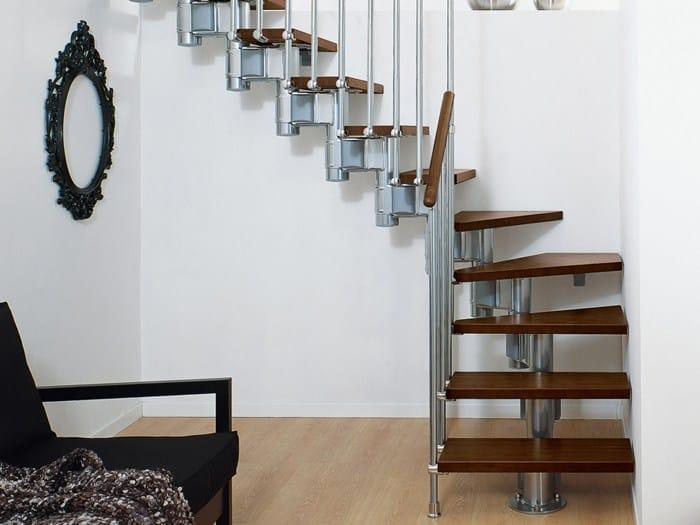 Escalier ouvert quart tournant en acier et bois long by for Leroy merlin scala retrattile