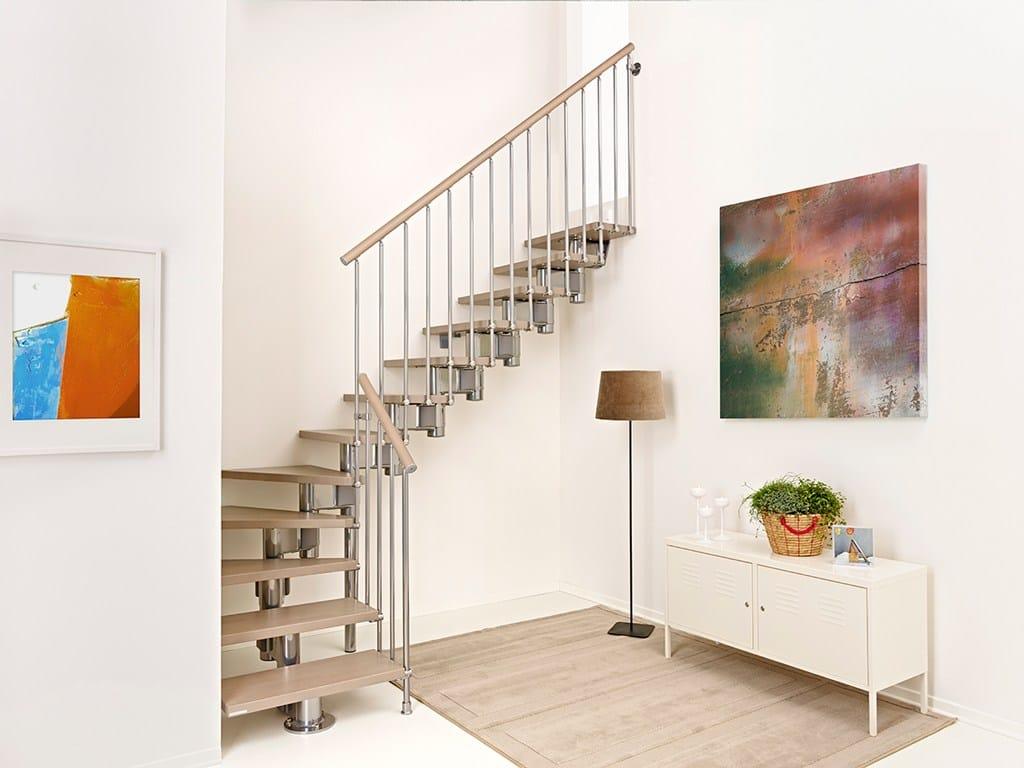 Escalier ouvert quart tournant en acier et bois long by - Escalier ouvert ...